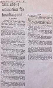 A 1972 article in the Rocky Mountain News covering the suit brought against Denver Public Schools