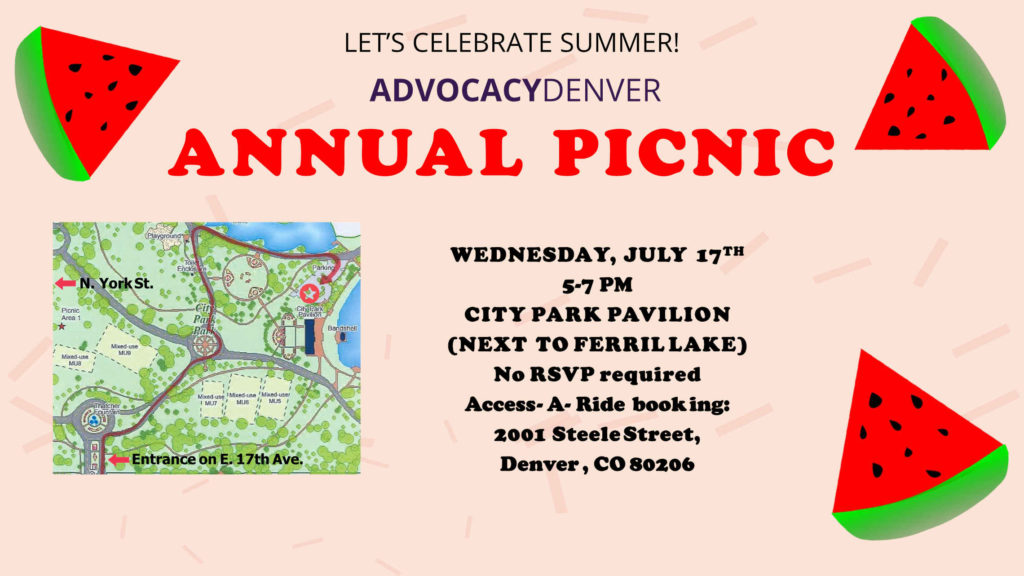 AdvocacyDenver Summer Picnic, City Park Pavilion, July 17th 5-7pm