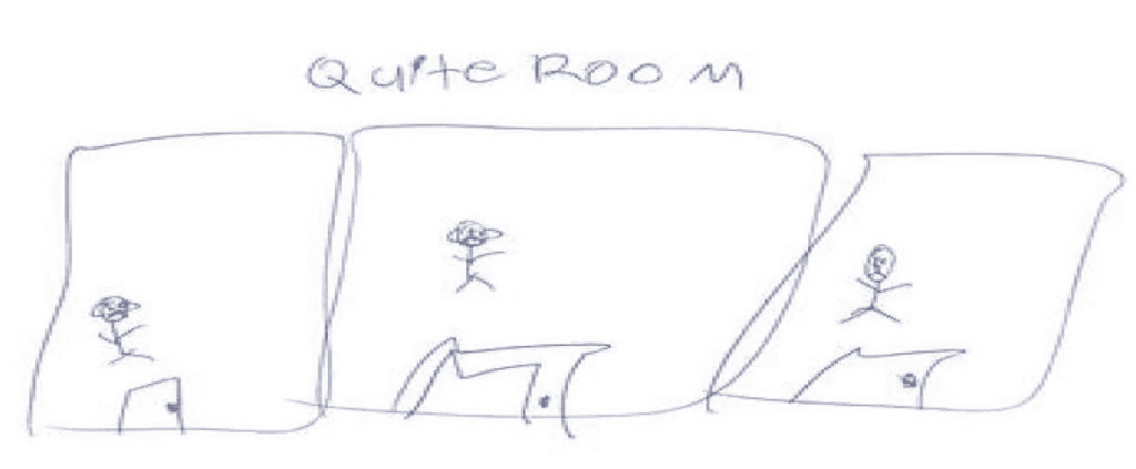 A child's drawing of the Quiet Rooms
