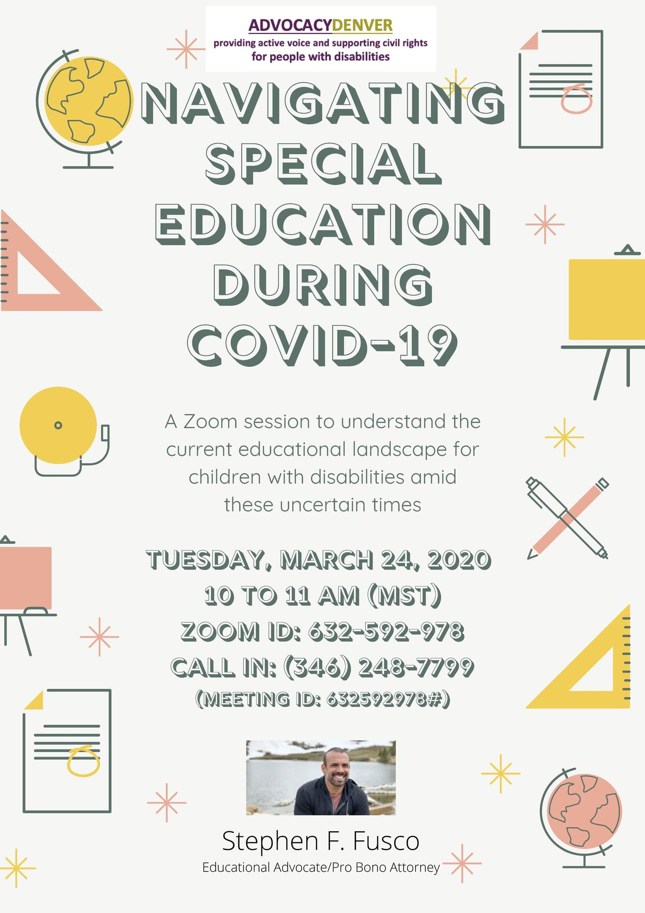 Webinar: Navigating Special Education During COVID-19, Tuesday March 24th 2020